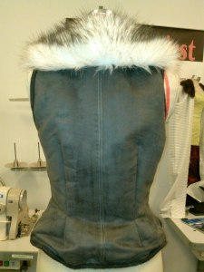 First Sample of the faux suede vest with faux fur lapel.
