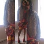 Denim jacket with Fur vest and 60's Vintage Dress