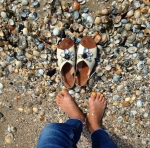 Wide Sandles: Metallic or Jeweled.