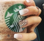 Ring Finger Nail Jewels.  Clean Finger Tips.