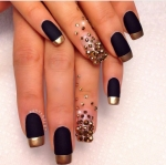 Black & Glod French Matte; Hand Studded.